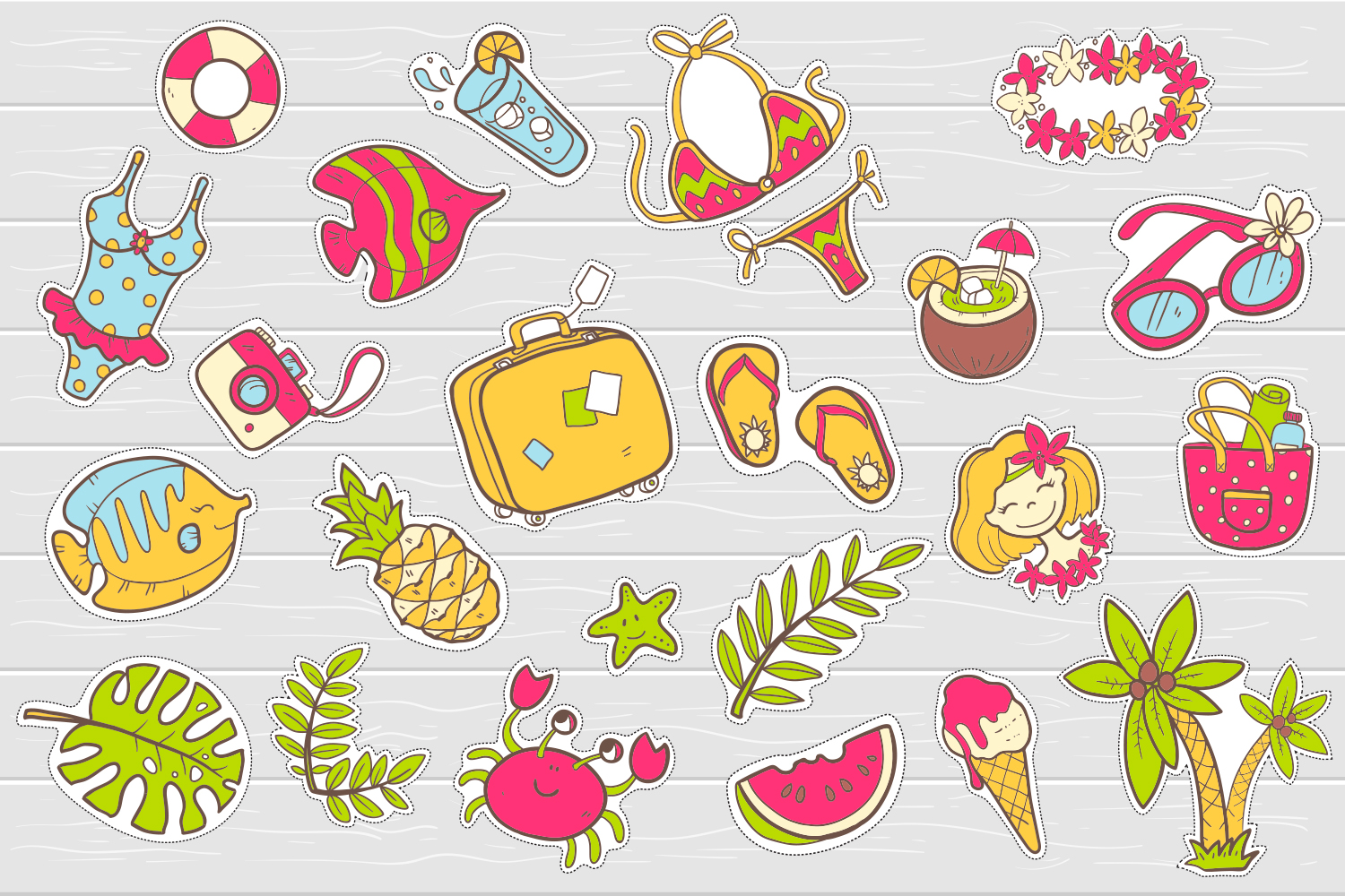Summer vector doodles collection. example image 4