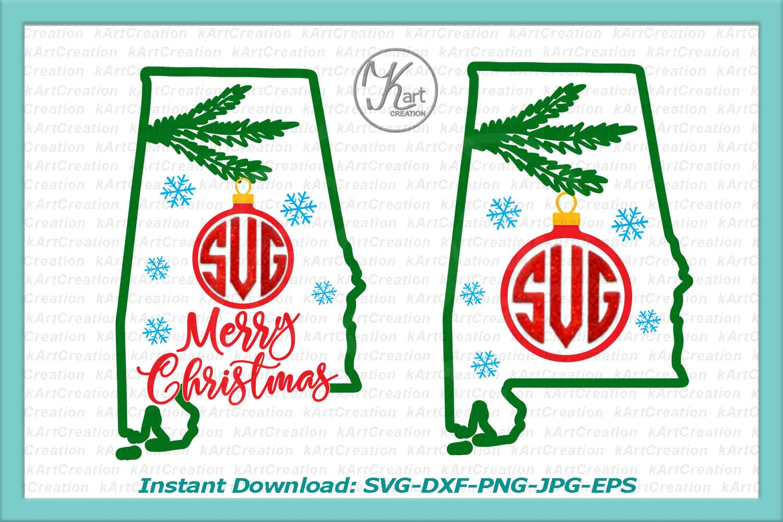 Alabama Christmas Monogram svg, Alabama Christmas svg, Alabama Monogram iron on, Alabama monogram svg, iron on printable, dxf, commercial example image 1