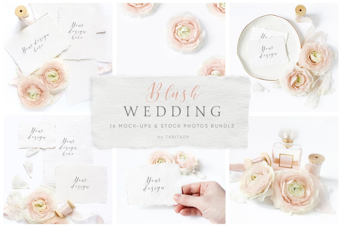 Blush Wedding mockups  & stock photo bundle example image 1