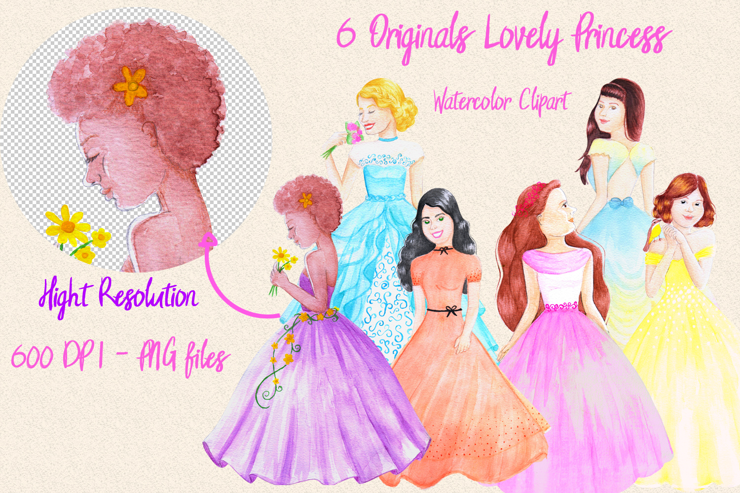 Lovely Princess - watercolor clipart example image 4