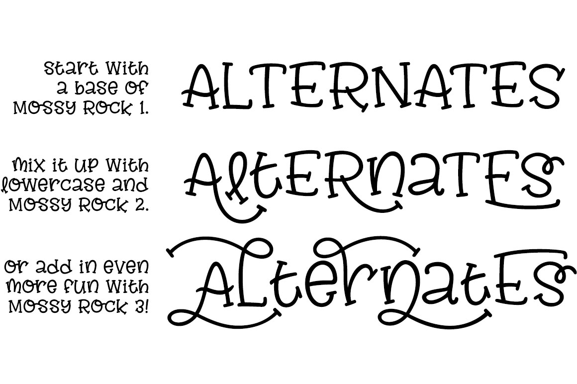 Mossy Rock fun font family! example image 4