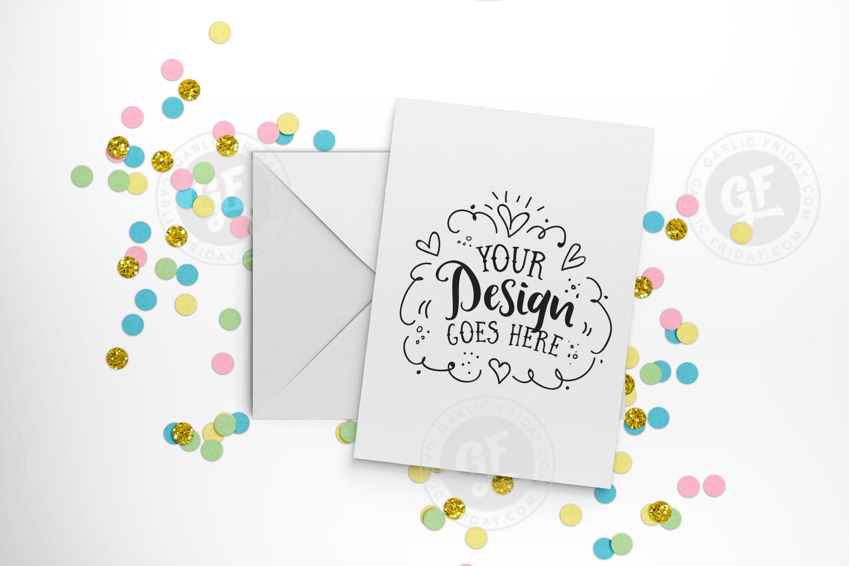 pastel confetti greeting card mockup wi design bundles