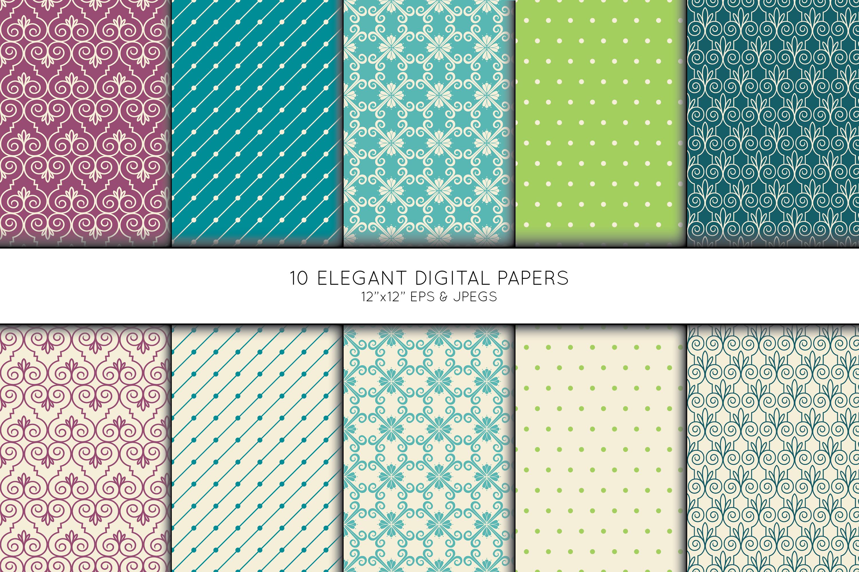 Elegant Swirl Digital Paper, Geometric Seamless Pattern, Scrapbook Paper, Digital