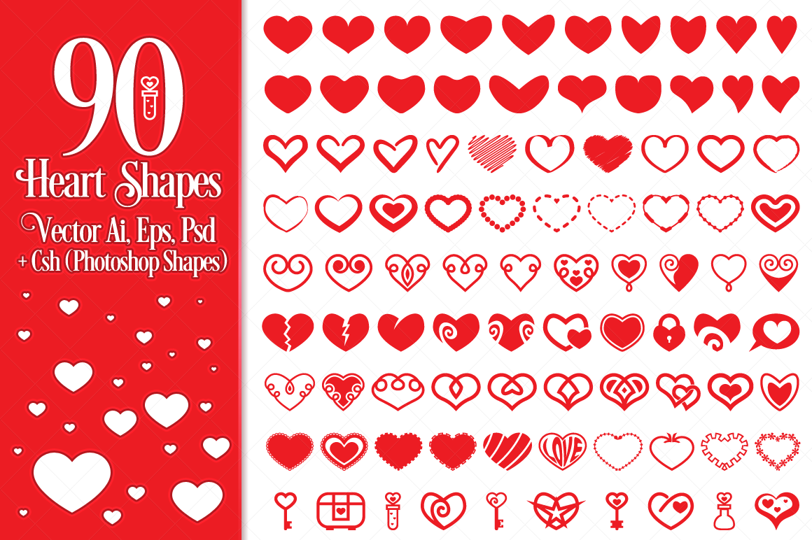 90 Vector Heart Shapes example image 1