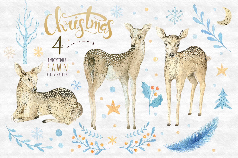 Watercolour baby deer example image 3