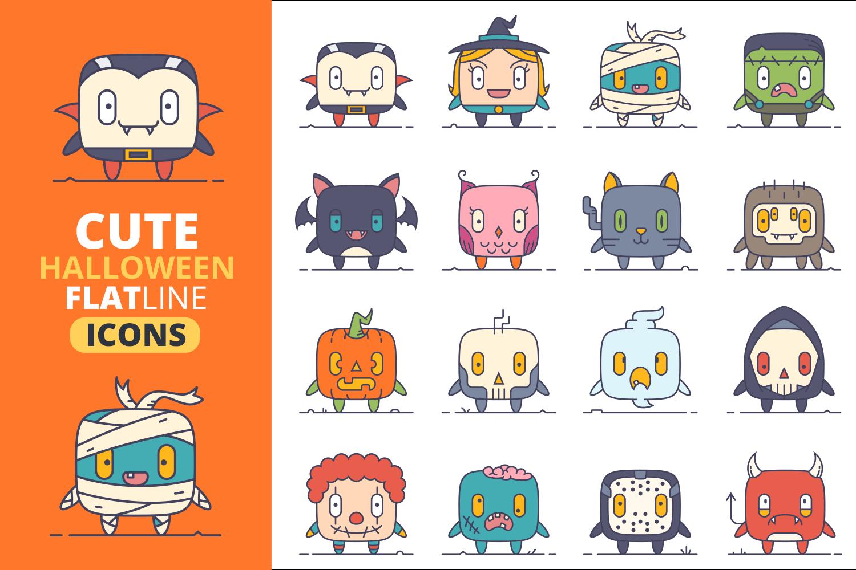 Cute Flat Halloween Characters Vol.1 example image 1