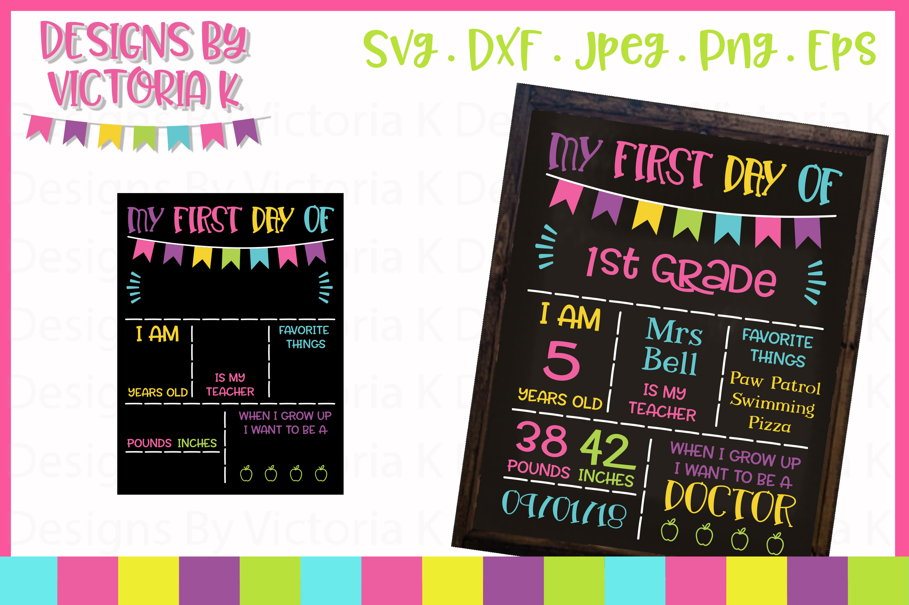 Back to school board, chalkboard style, SVG, DXF, PNG example image 1
