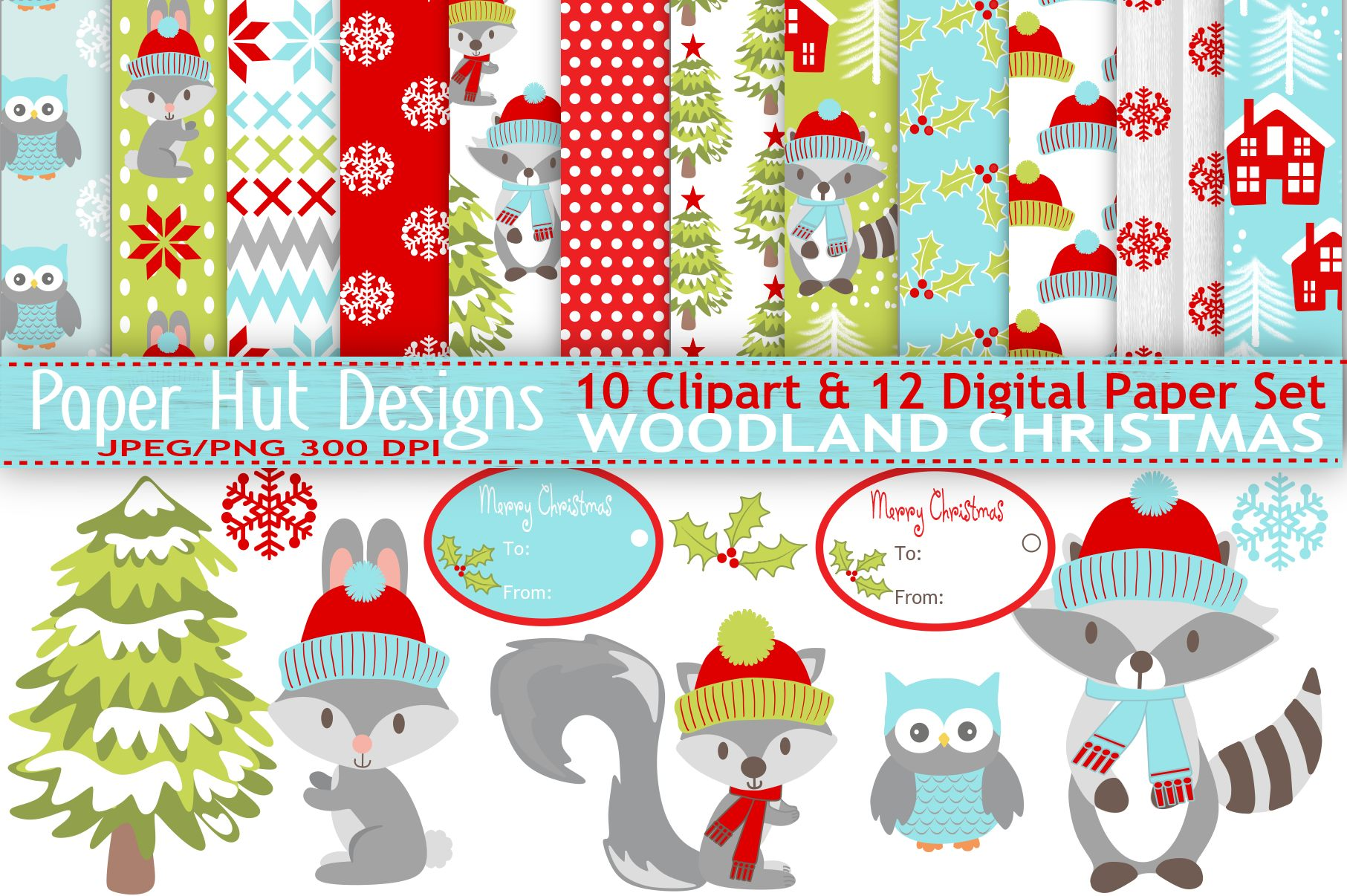 Woodland Animals Christmas Clipart And Digital Papers Set Example Image