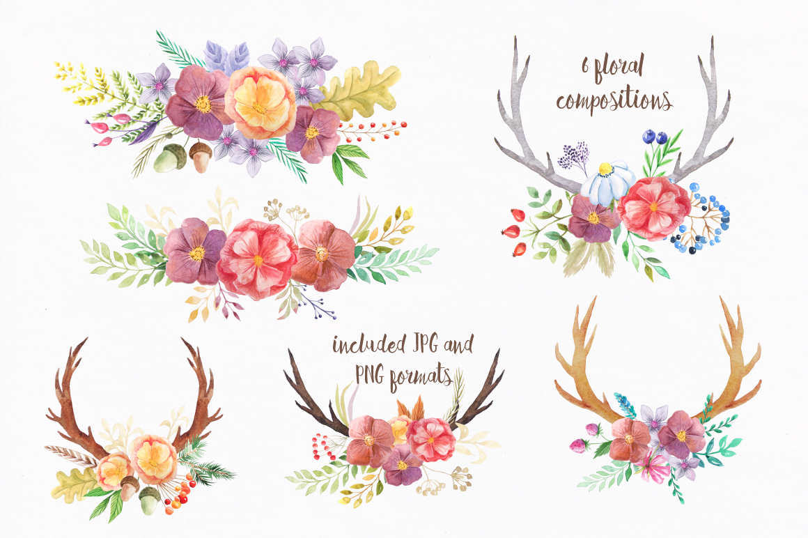 Summer Watercolor Floral BUNDLE example image 24