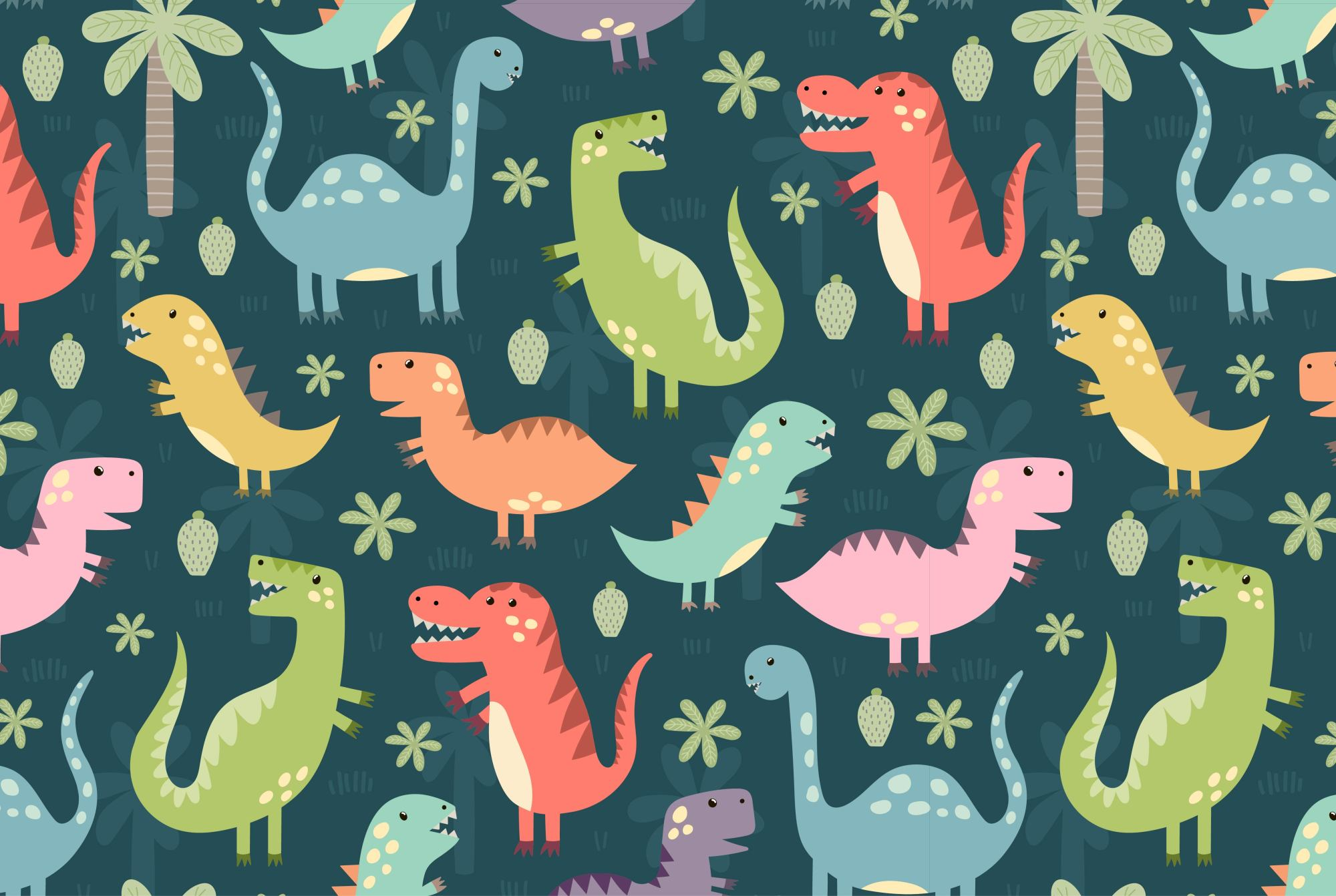 Dino Party: patterns & illusrations example image 3