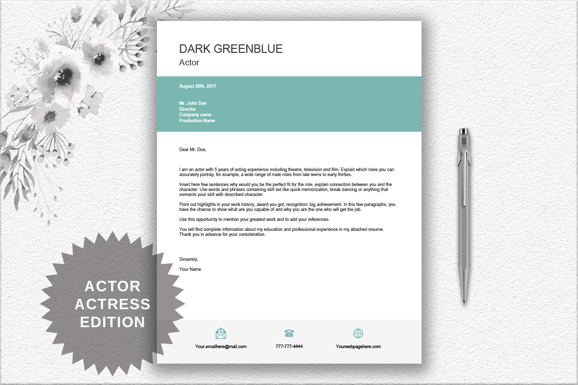 Modern Resume Template  ActorActress  Design Bundles