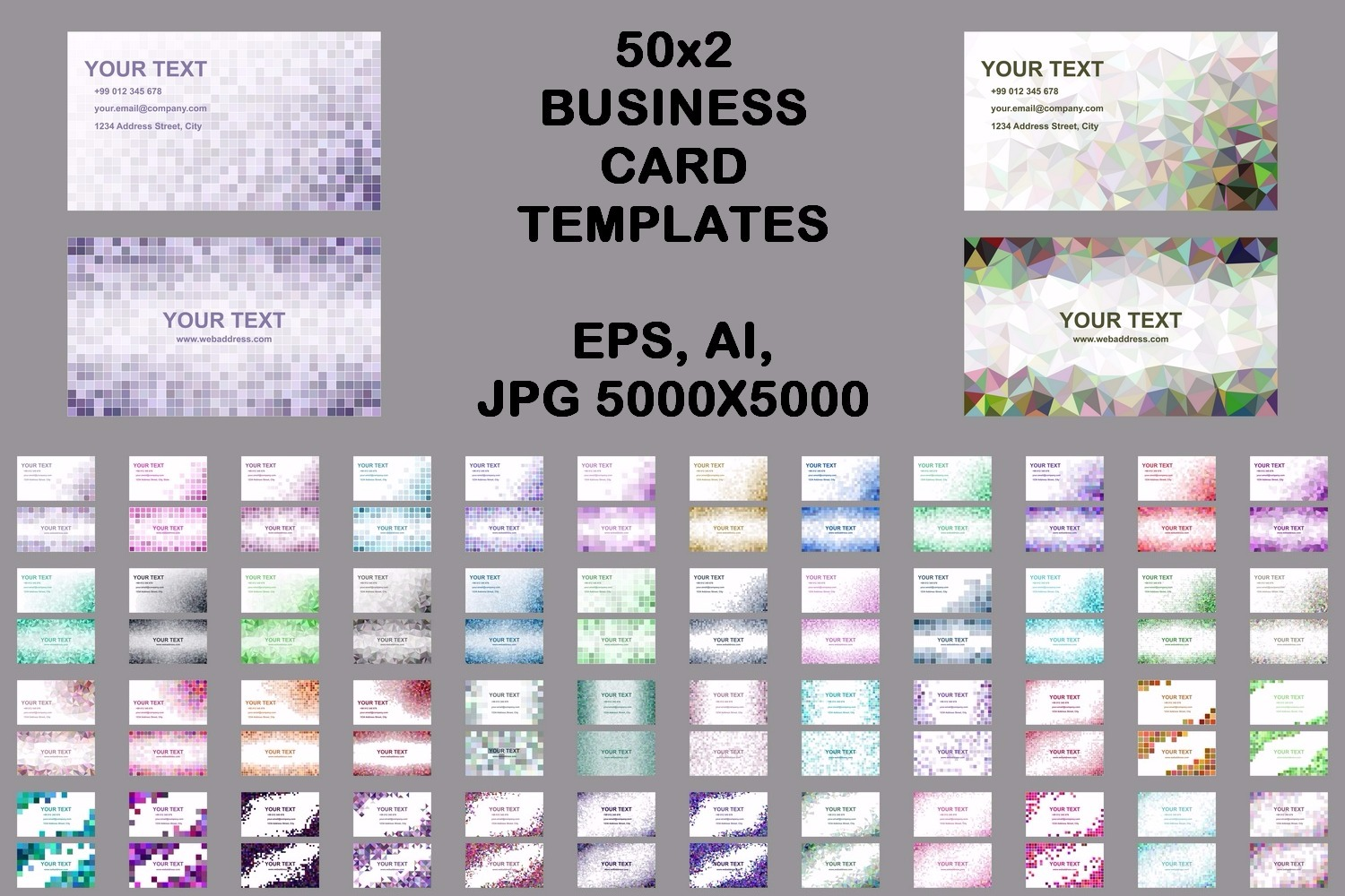 50x2 mosaic design business card templates (EPS, AI, JPG 5000x5000) example image 1