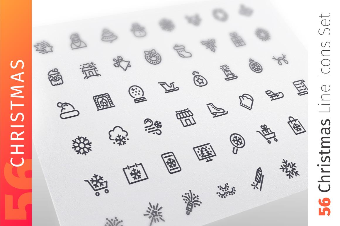 Christmas Line Icons Set example image 1