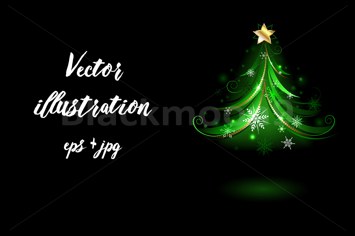Green Fir Tree with Snowflakes ( Christmas tree ) example image 1