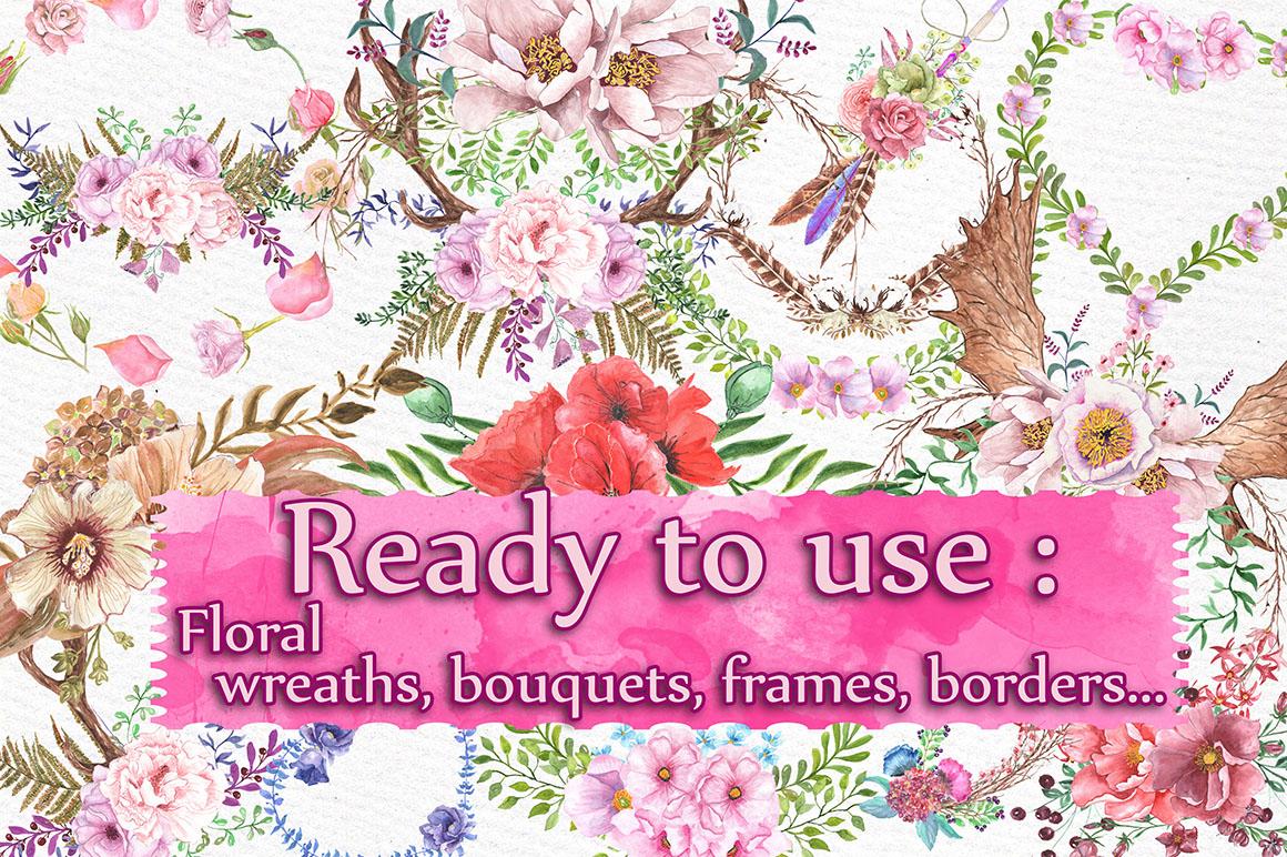 Watercolor floral Bundle example image 2