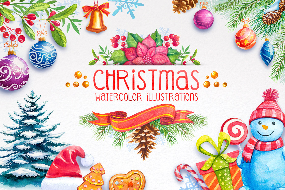 Christmas. Watercolor illustrations. example image 1