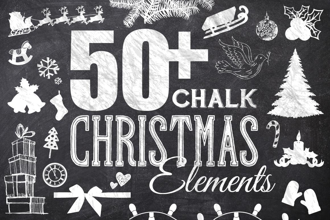 50 Chalk Christmas Elements example image 1