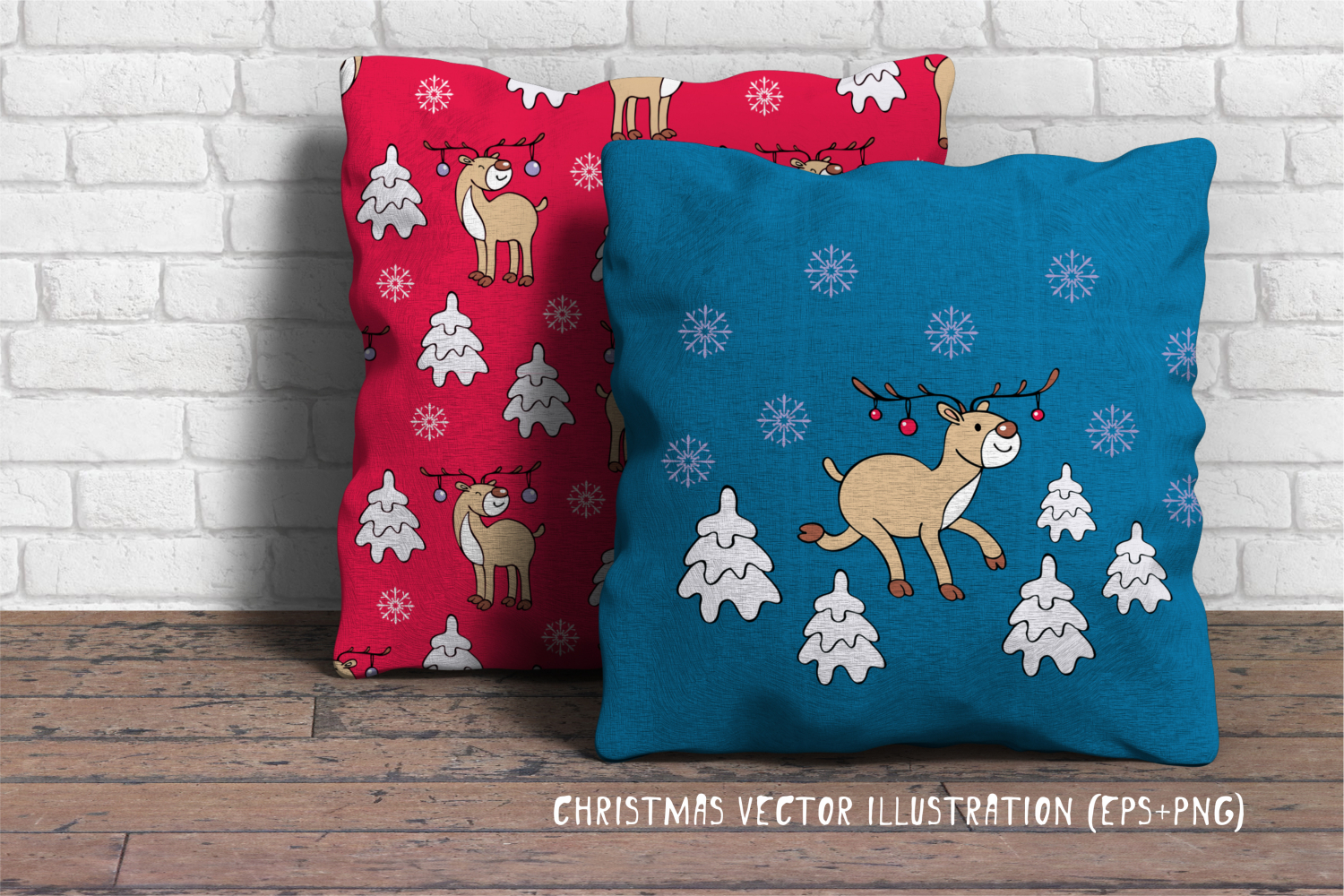 Funny deer. Christmas clip arts and seamless patterns example image 4