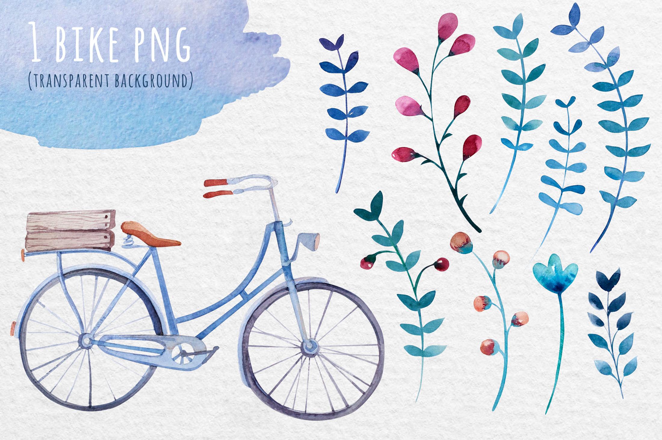 Watercolor bike & flowers example image 2
