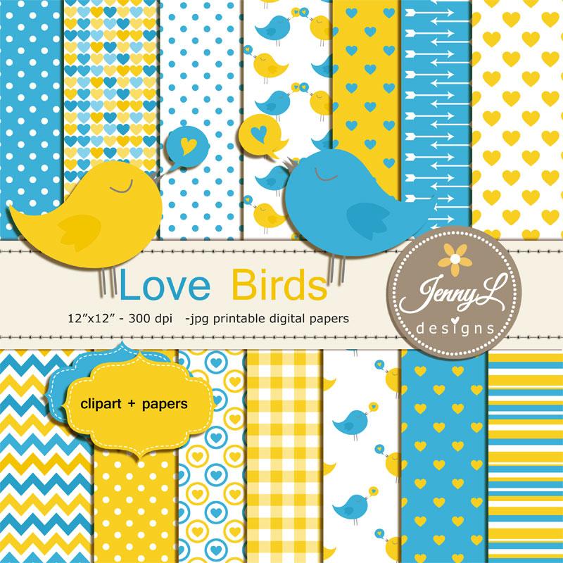 Love Birds Digital Papers and Clipart,   Design Bundles
