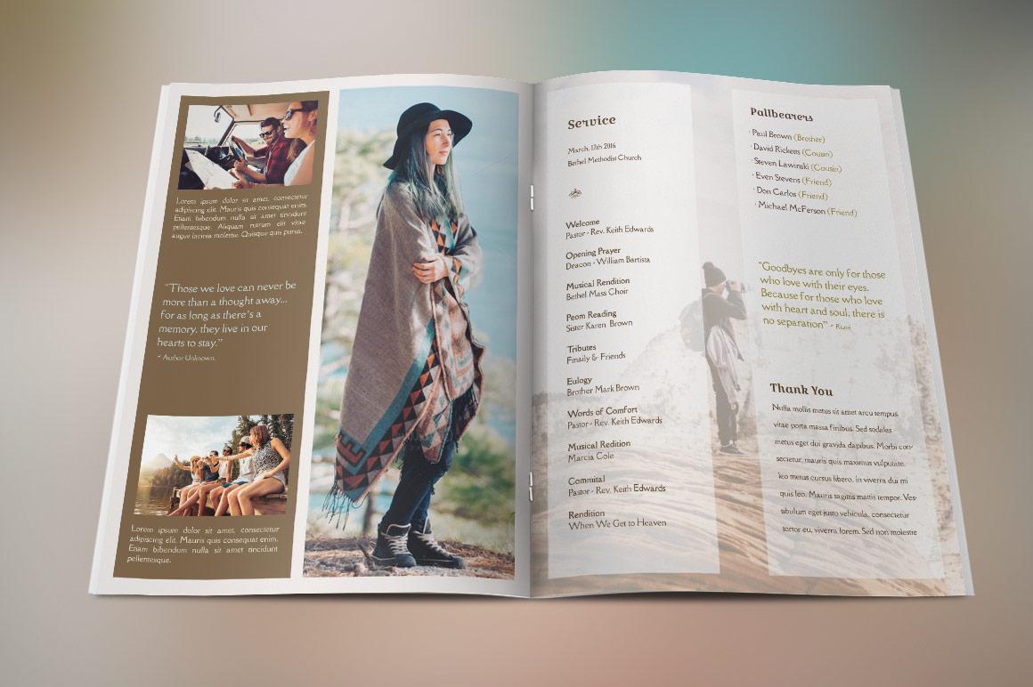 Adventure Large Funeral Program Publish   Design Bundles