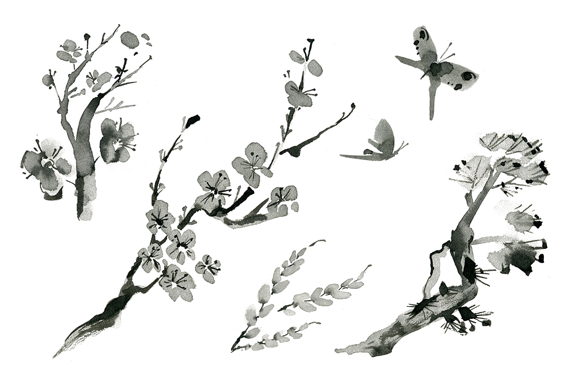 Sumi-e. Japanese ink painting example image 5
