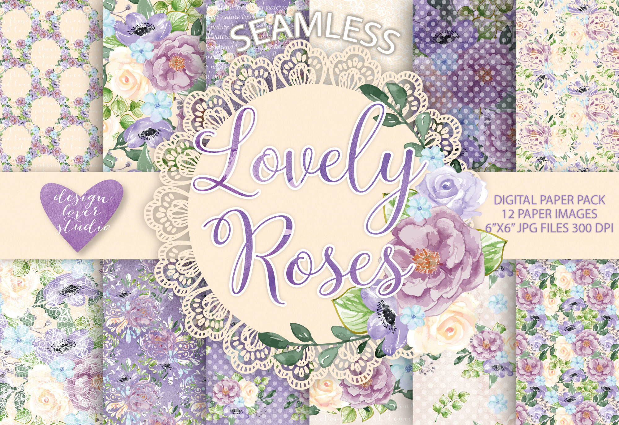 Watercolor Roses Anemone flowers digital paper example image 1