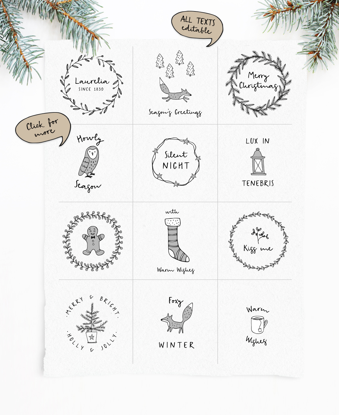 Snowy Christmas script font & logos example image 3