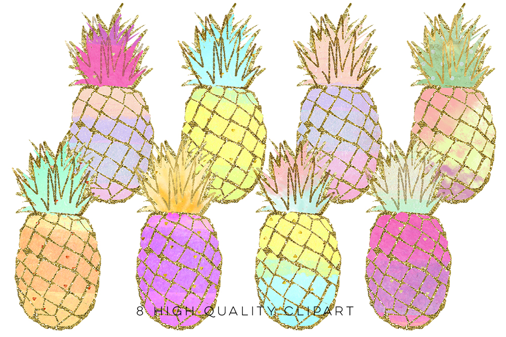 pineapple clip art, Gold Pineapples, go | Design Bundles