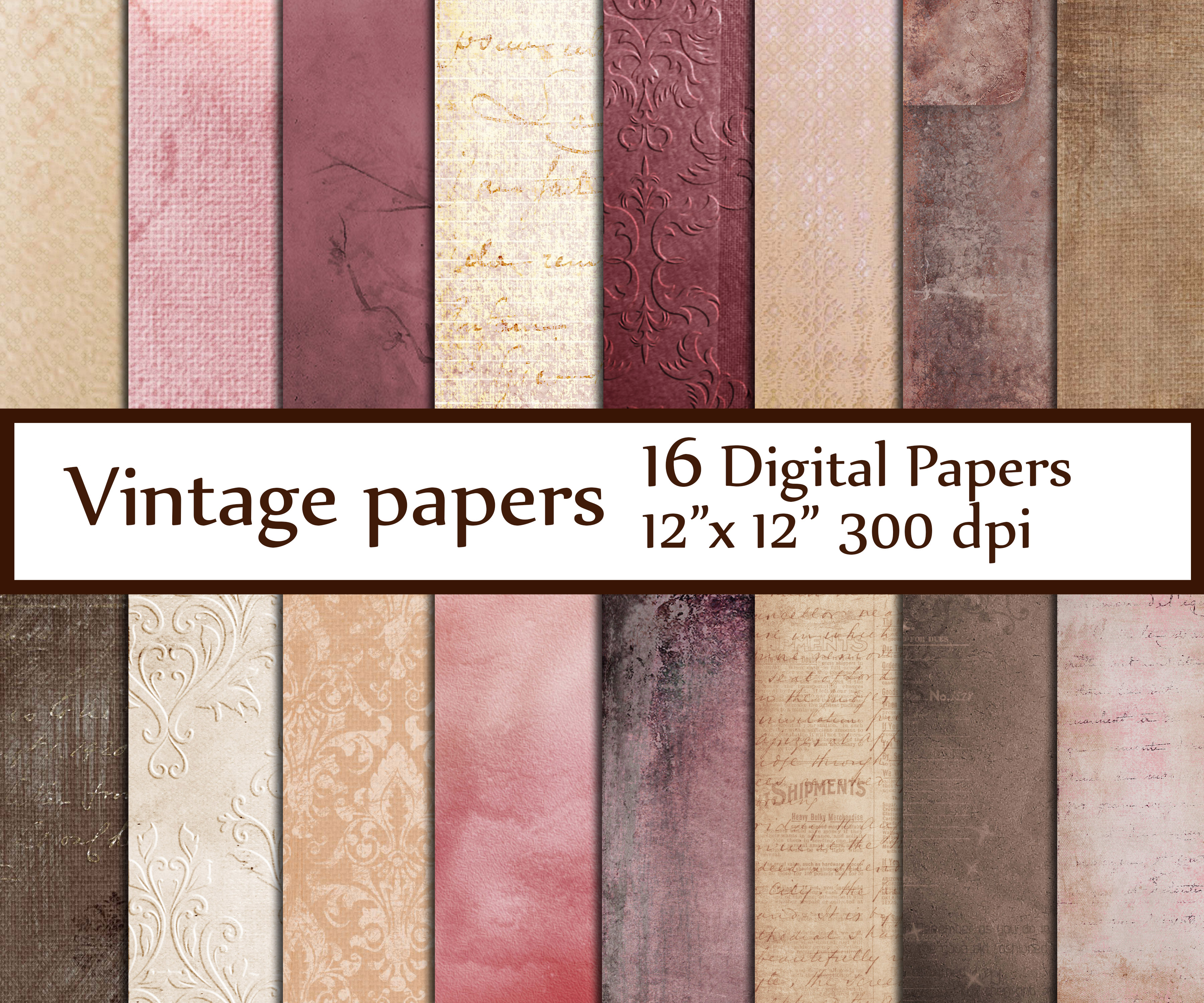 Shabby chic digital papers example image 1