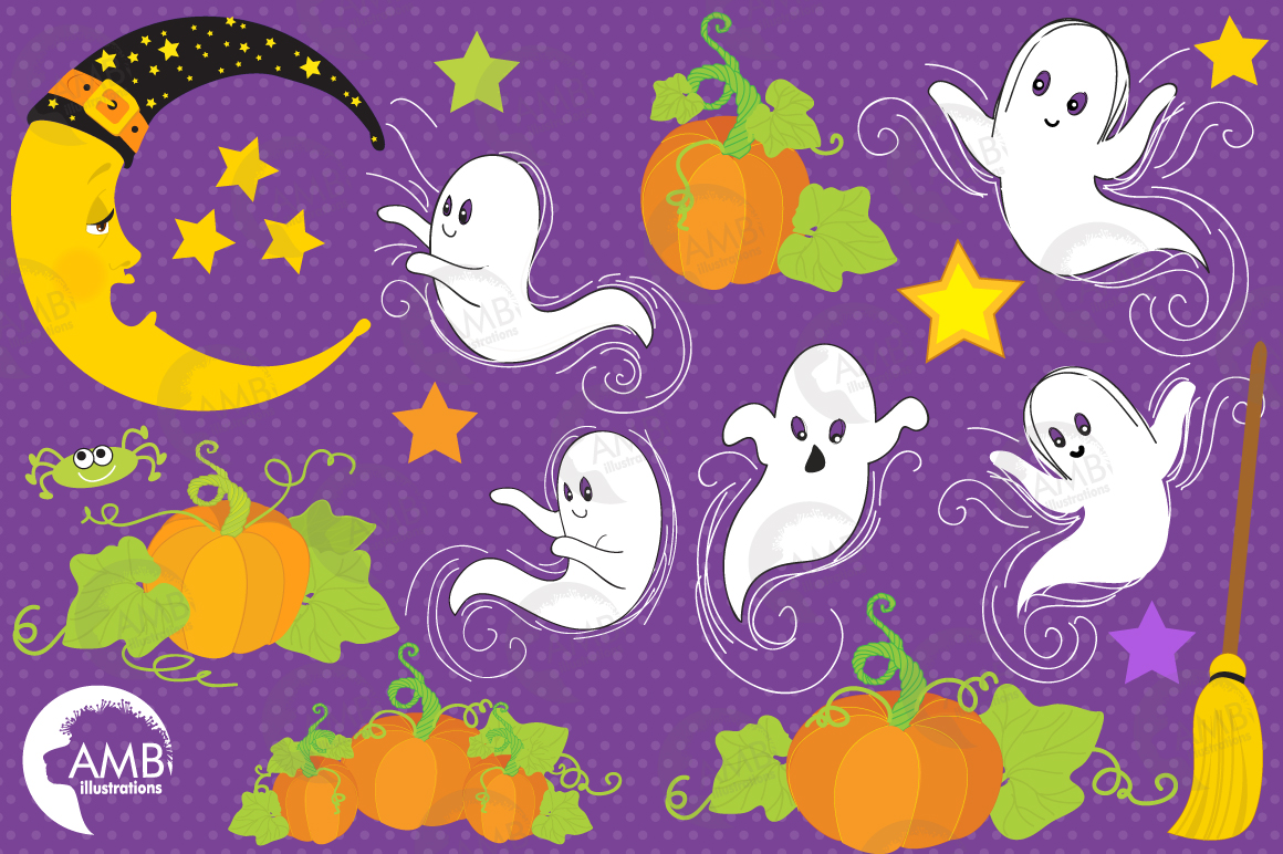 Whispy Halloween Ghosts clipart, graphics, illustrations AMB-142 example image 2