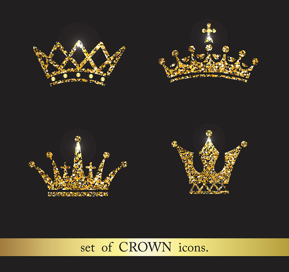 set of gold crown icons collection o design bundles