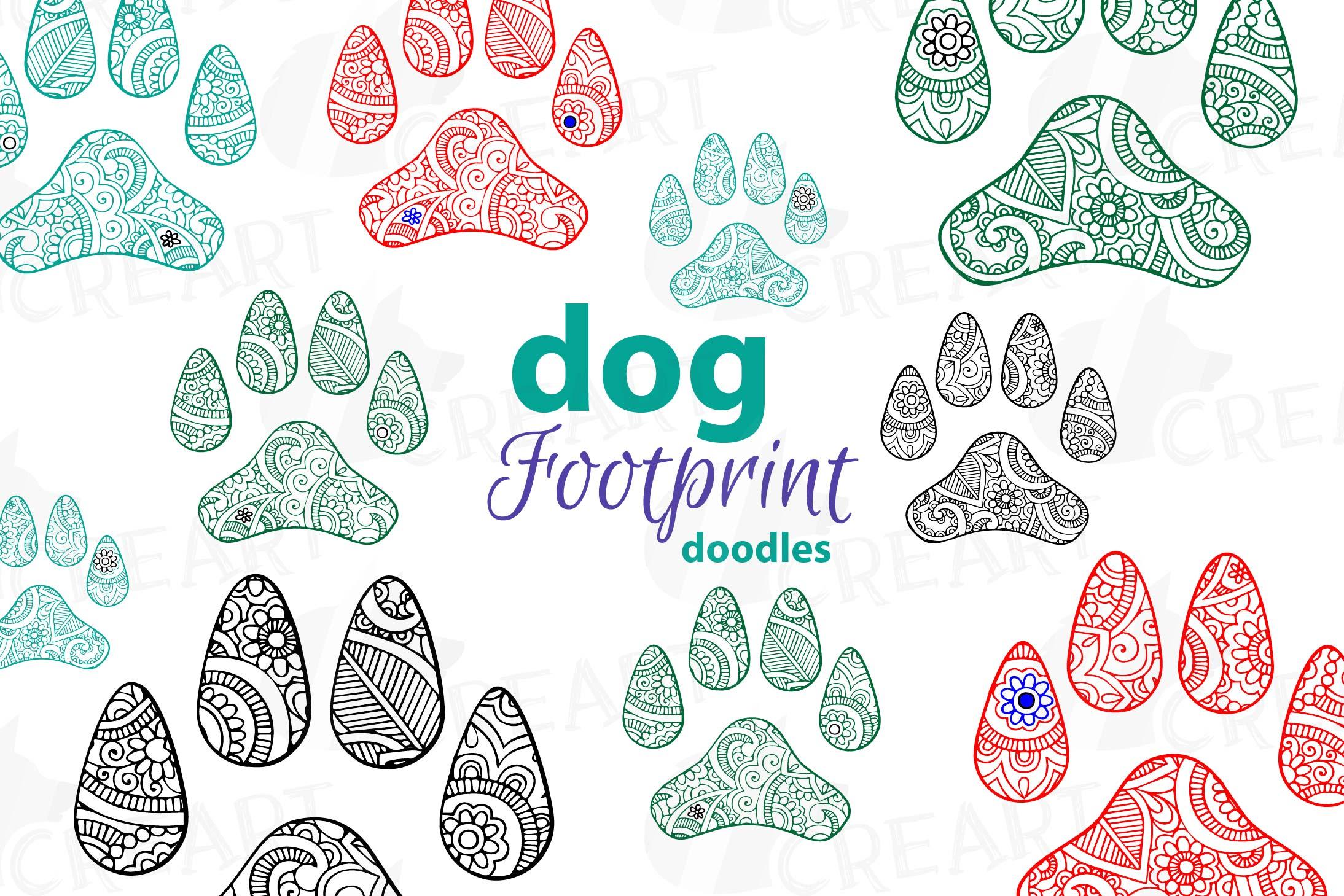 Dog Footprint Doodle Clip Art, Hand Drawn Illustration Of Dog