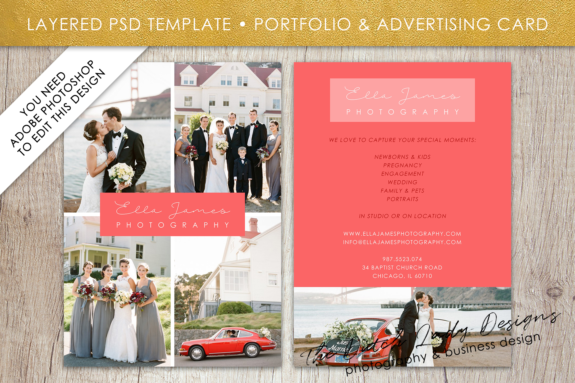 Photo Portfolio & Advertising Card Temp | Design Bundles