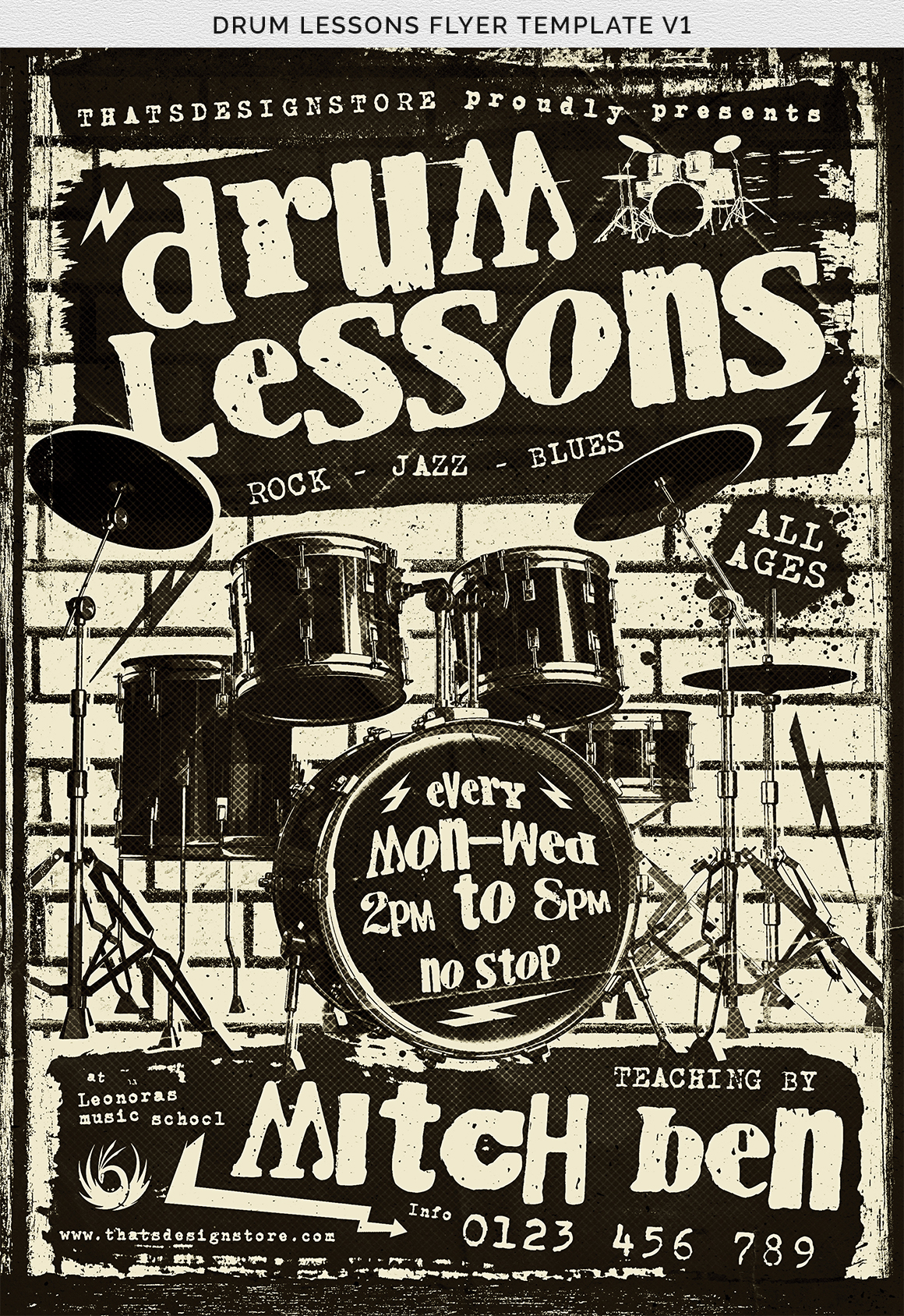 Drum Lessons Flyer Template V1 example image 12
