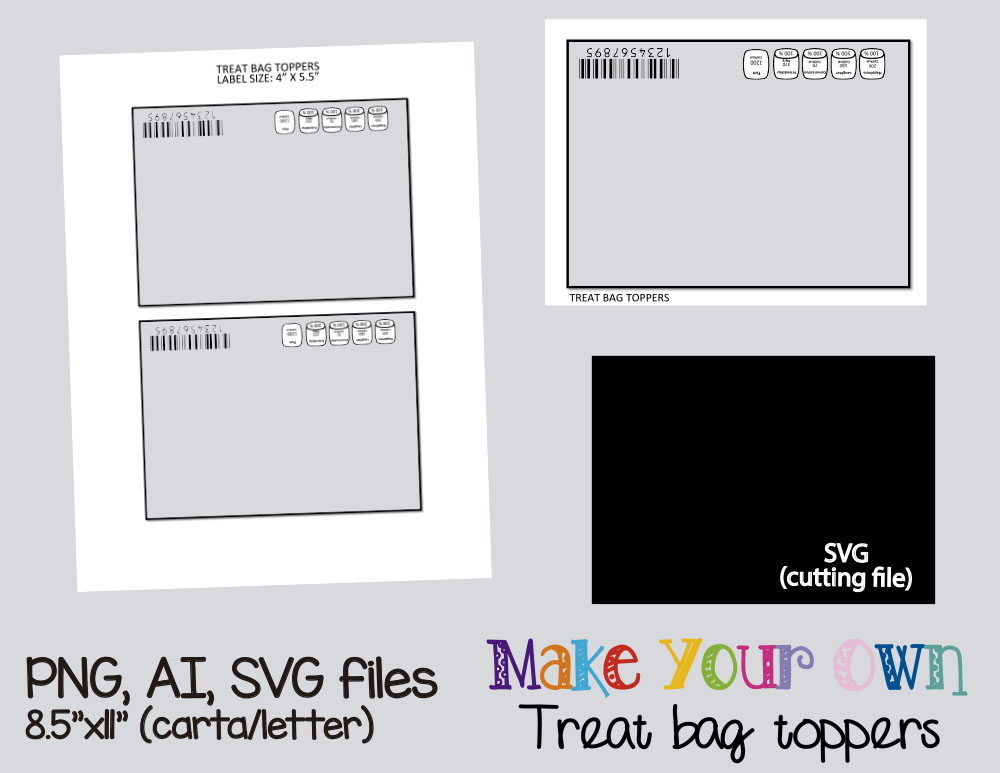 Treat bag toppers template, collage she | Design Bundles