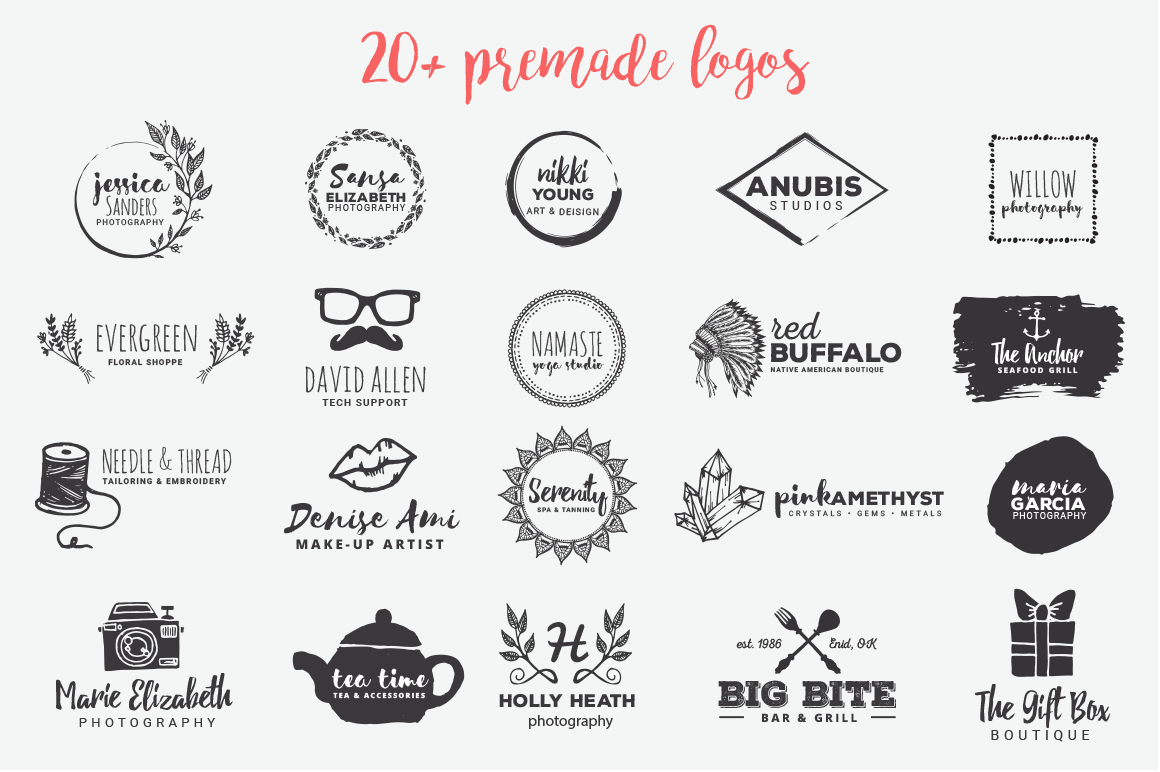 The Pretty Freakin' Big Hand Drawn Logo Design Kit example image 25