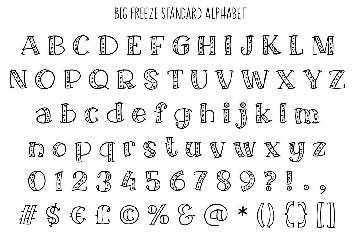 Big Freeze - standard alphabet