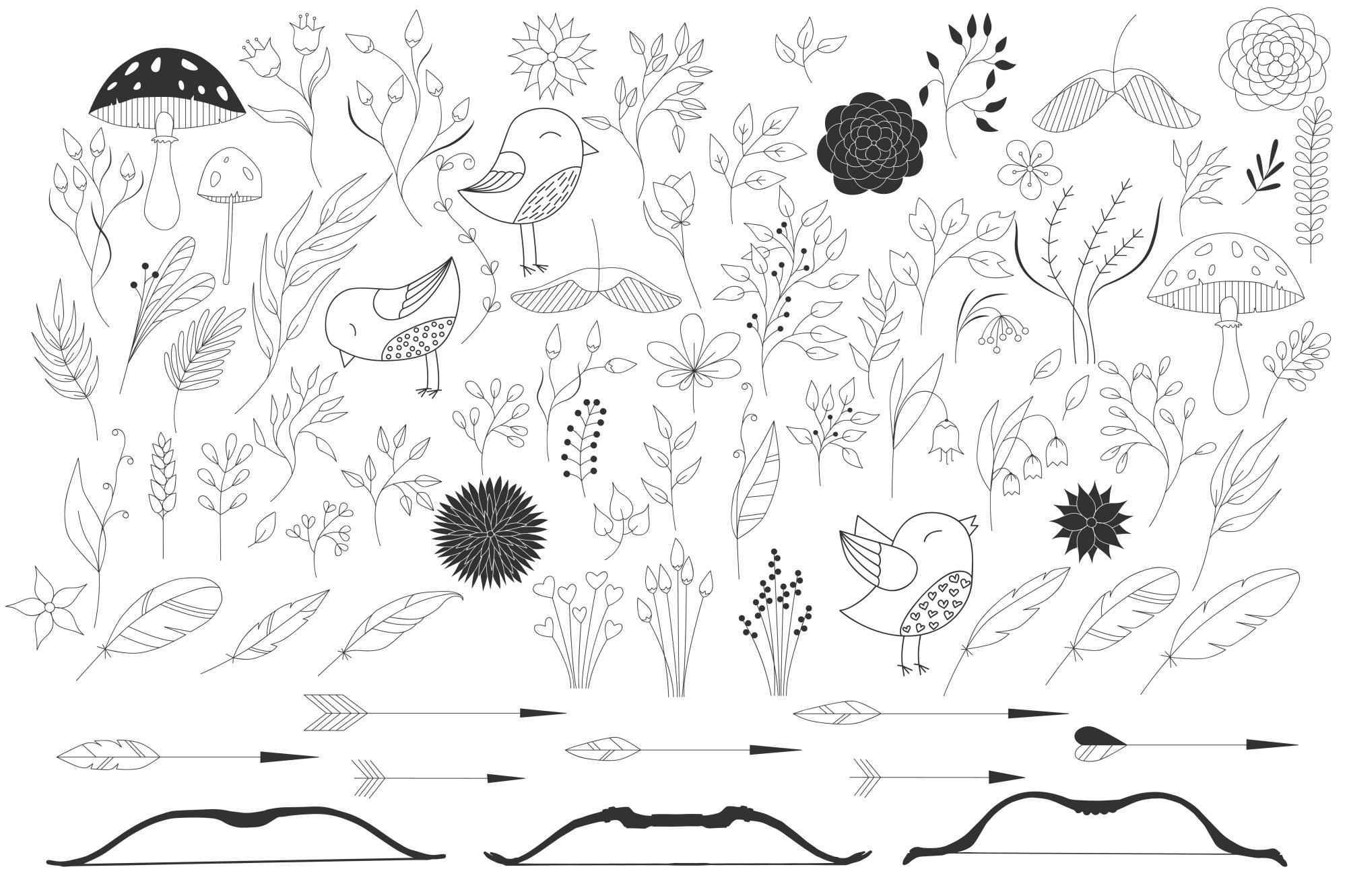 450 handsketched elements. Nature mega pack example image 20