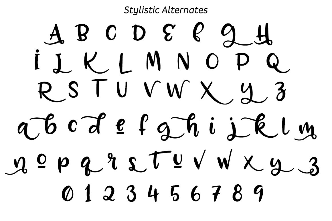 Zooky Squash - stylistic alternates alphabet
