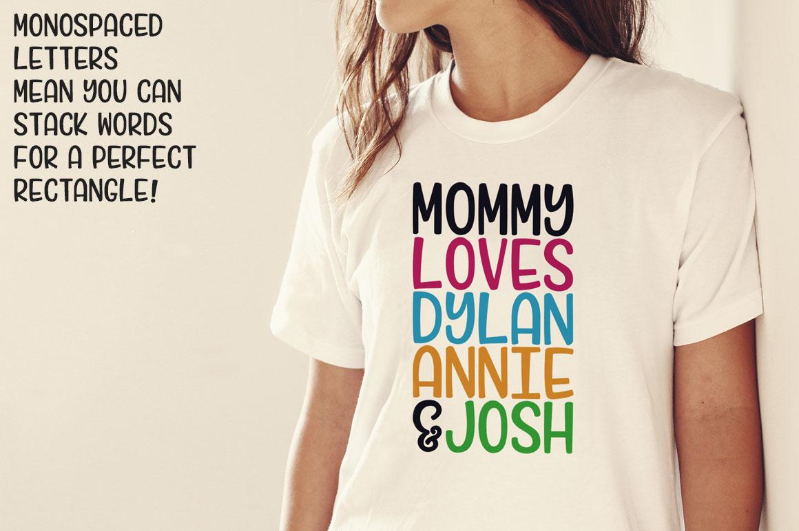 Candlepin monogram font: t-shirt slogan mockup idea