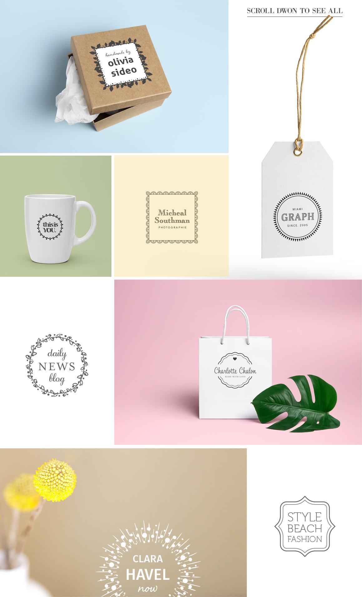 100 Typo Logos + 100 Logo Frames by Aga | Design Bundles