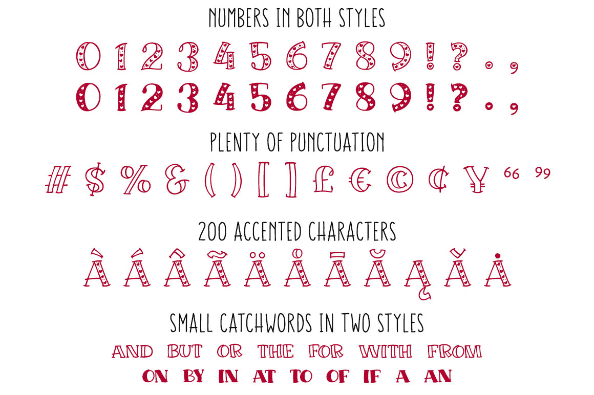 Big Sweetie - numbers, puncutation, accented characters, and catchwords