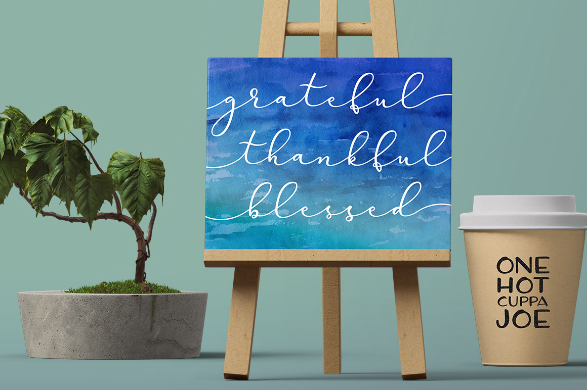 Virga fonts: poster art and coffee cup mockup