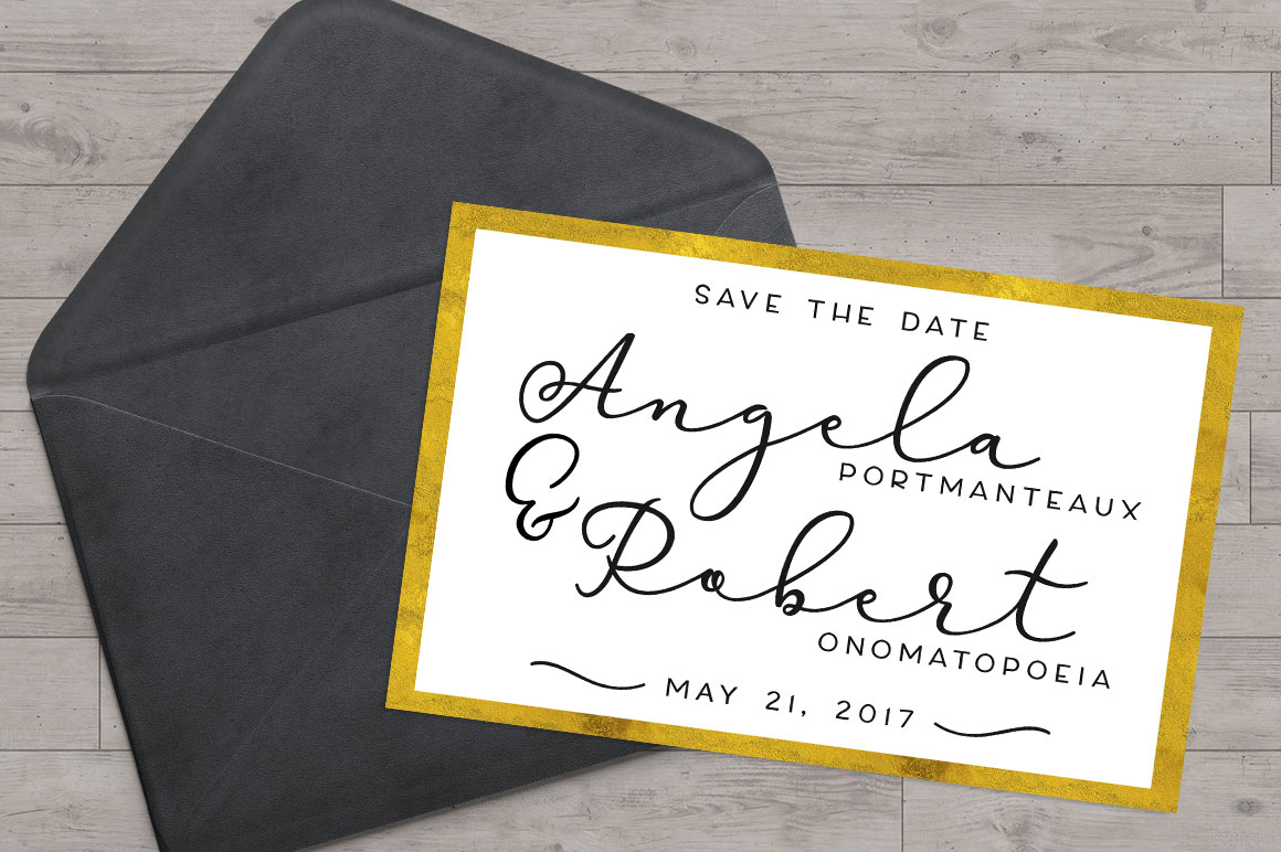 Virga: sample wedding save the date invitation mockup