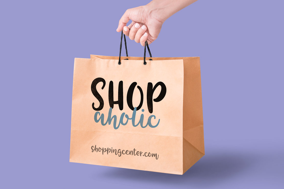 Tingler font duo - shopping bag mockup
