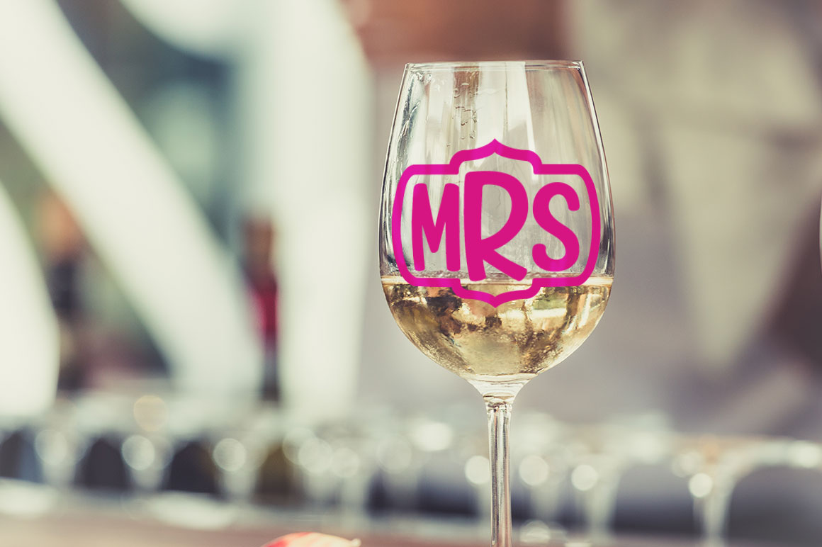 Candlepin monogram font: wedding celebration wine glass mockup idea