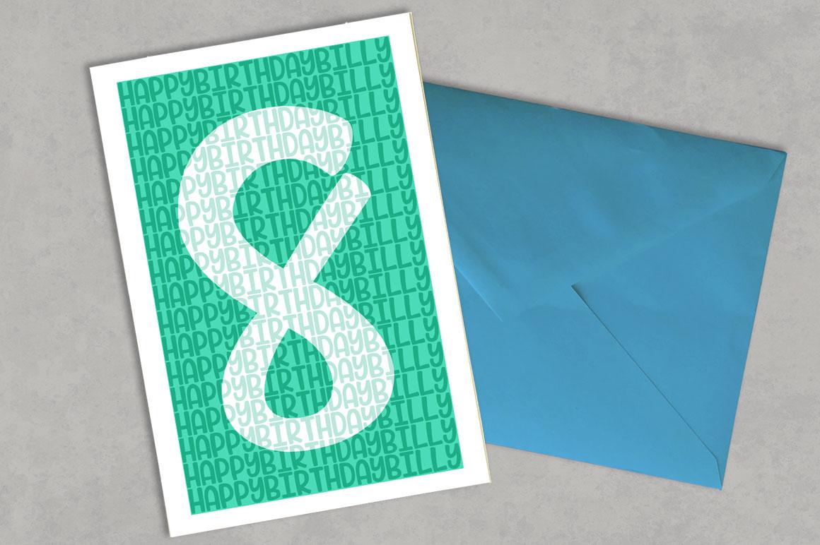 Candlepin monogram font: birthday greeting card mockup idea