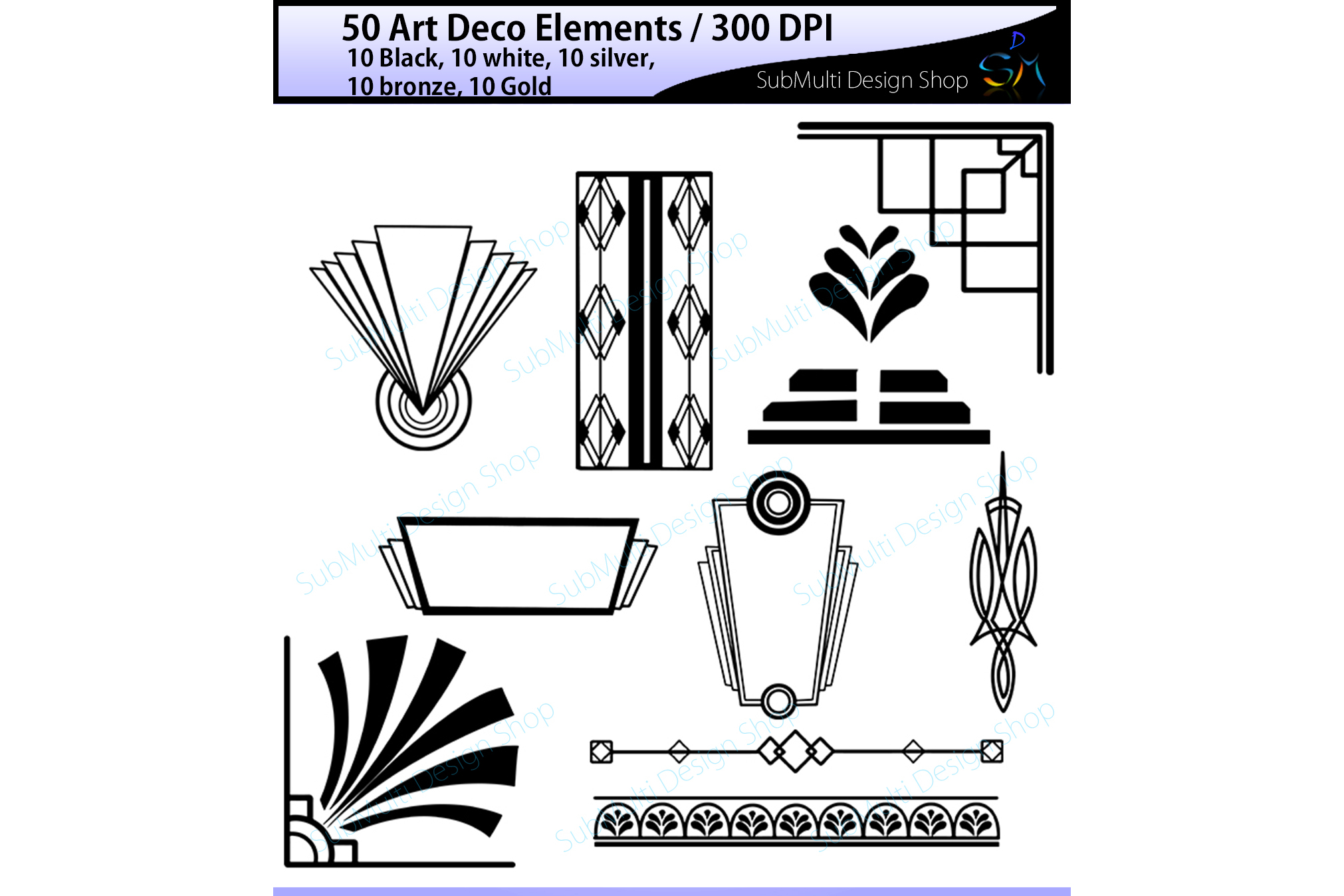Art deco high quality art deco elem design bundles - Art deco design elements ...