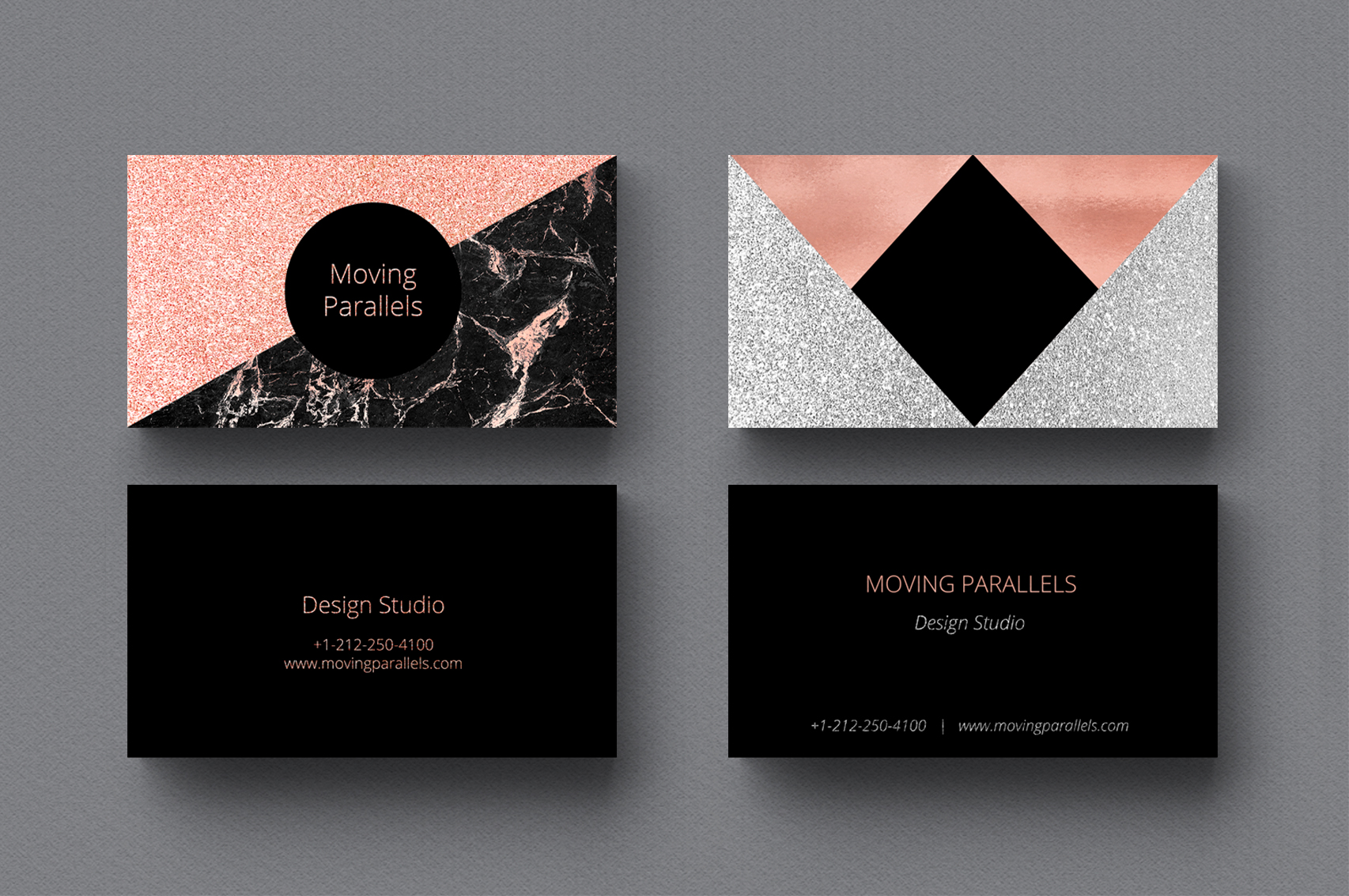 Rose Gold Marble Business Cards Bundle | Design Bundles